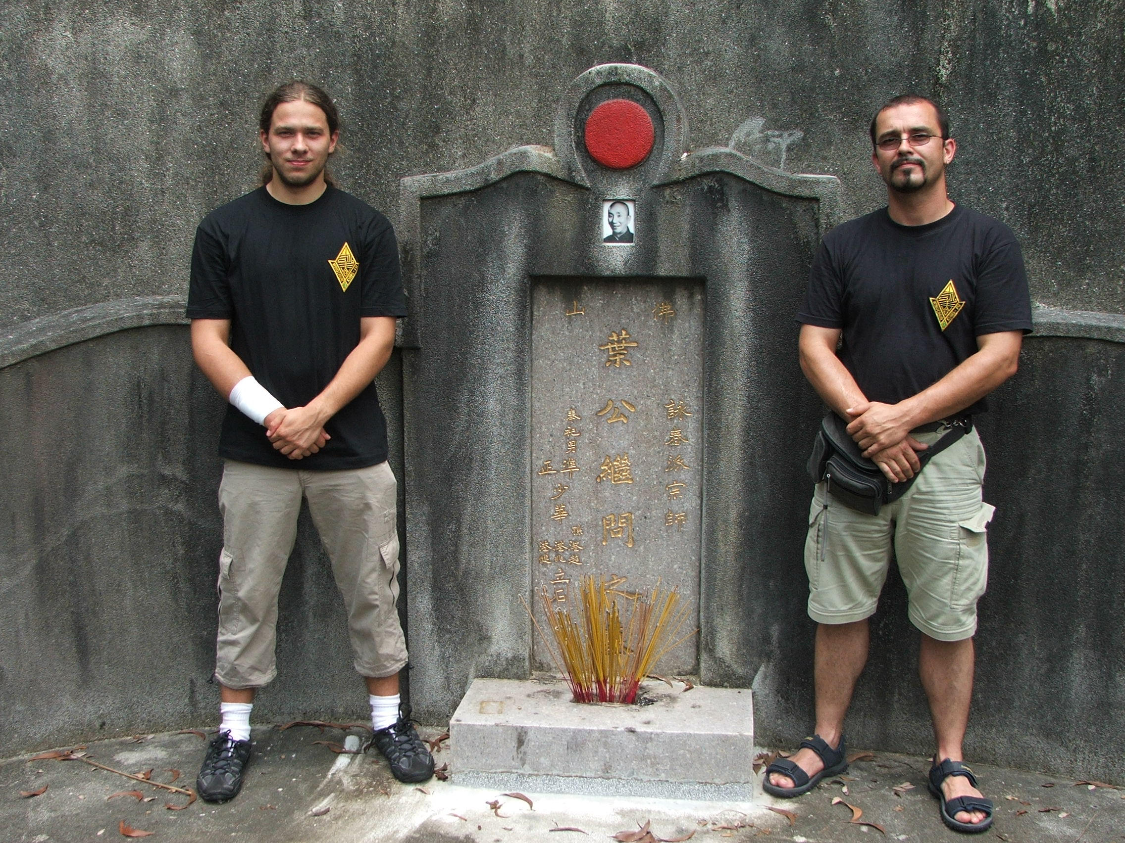 Marc Debus and Dominik Dertinger on Yip Mans grave